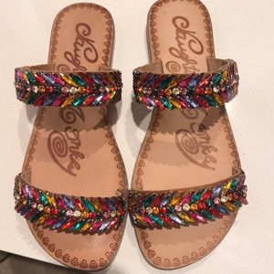 NWT Naughty Monkey multi color sandals size 6